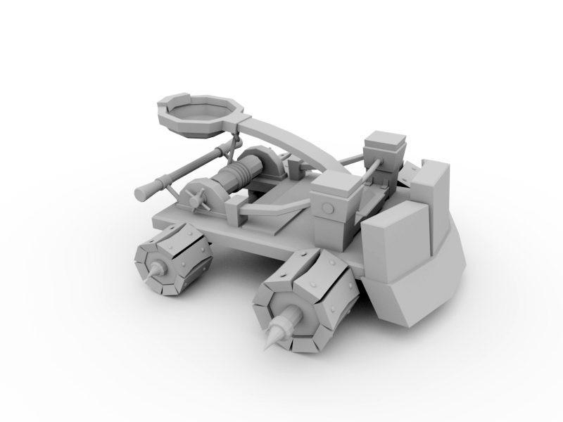 Ancient Catapult 3d rendering