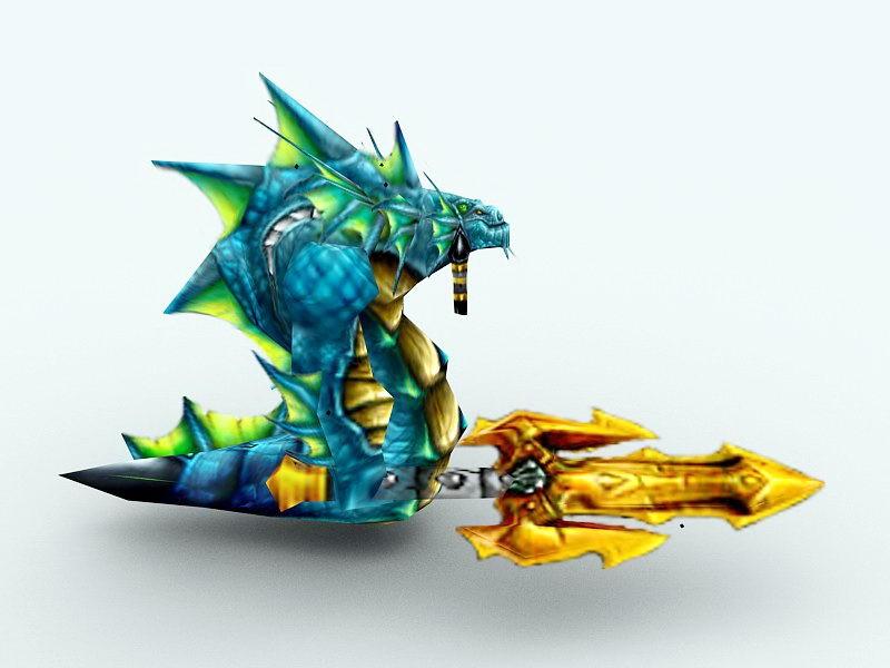 Naga Myrmidon Warrior 3d rendering