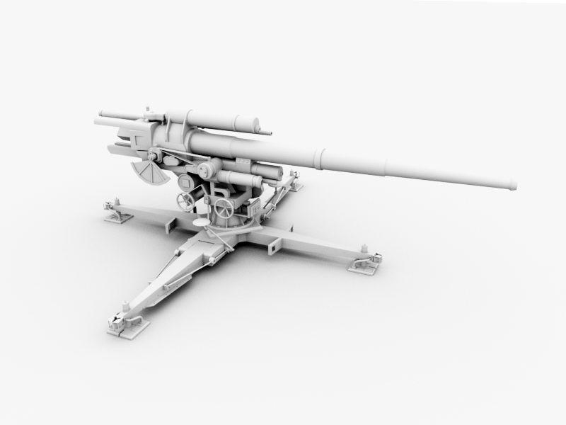 WW2 German AA Gun 3d rendering