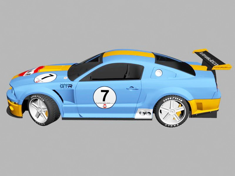 Ford Mustang GT Race Car 3d rendering