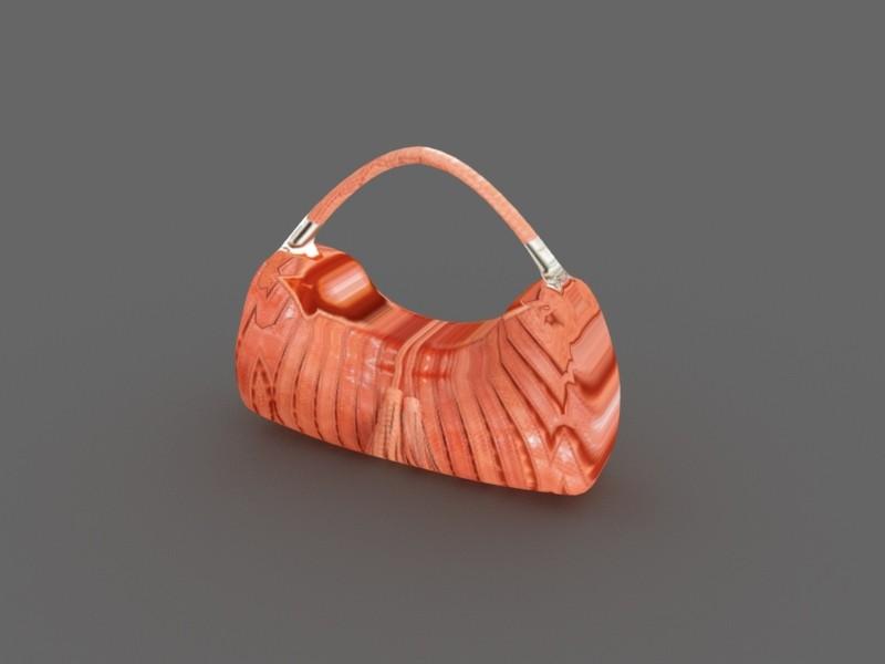 Brown Leather Handbag 3d rendering