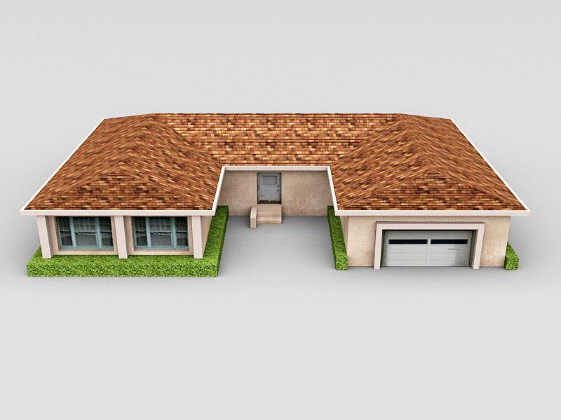House with Garage 3d rendering