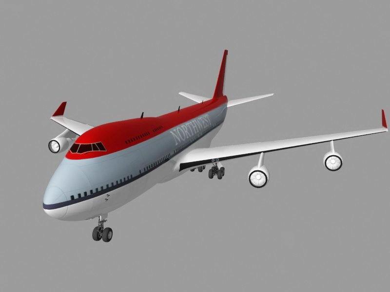 Northwest Airline Boeing 747 3d rendering
