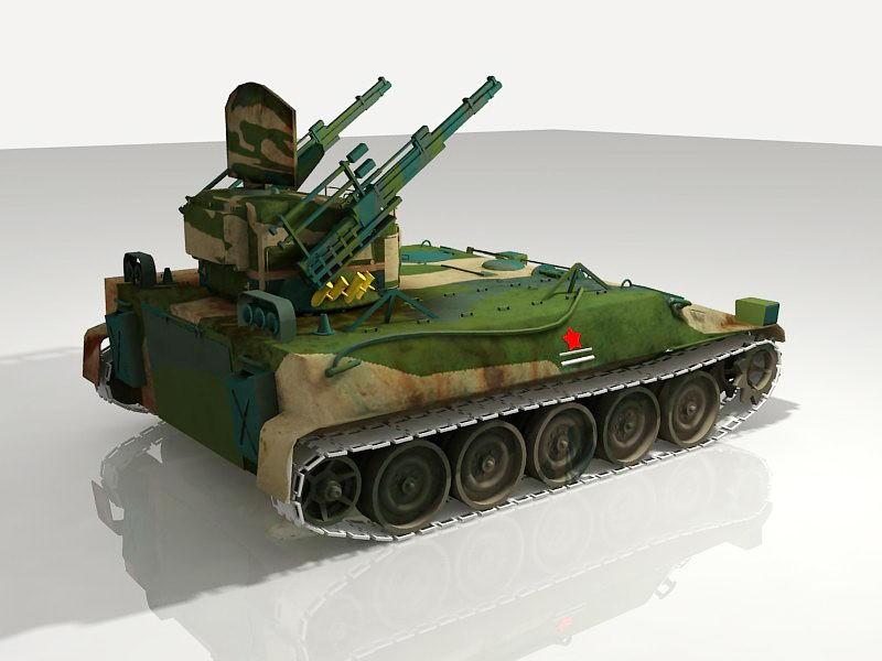 Self-propelled Gun 3d rendering