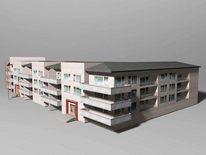 City Apartment Building 3d rendering