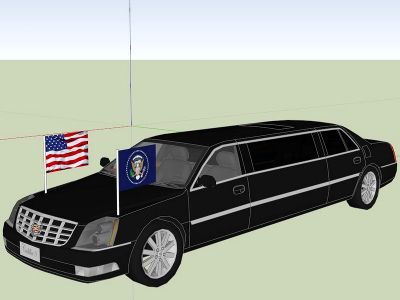 Presidential Limousine of USA 3d rendering