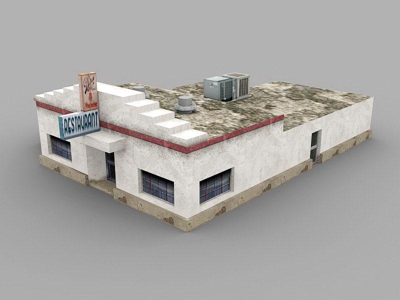 Old Restaurant Exterior 3d rendering