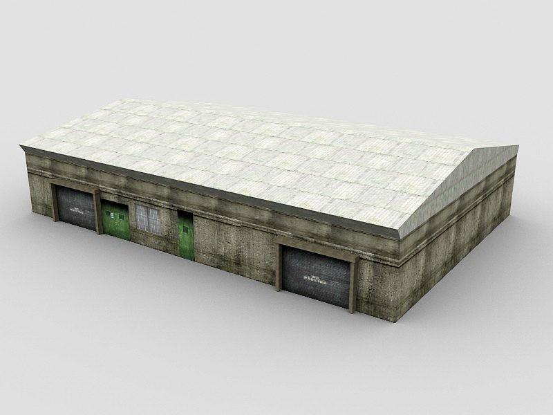 Old Warehouse Building 3d rendering