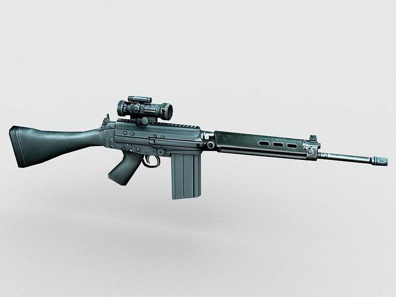 FN FAL Sniper Rifle 3d rendering