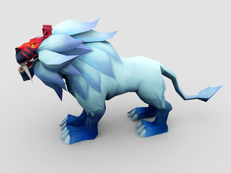 Anime Lion 3d rendering