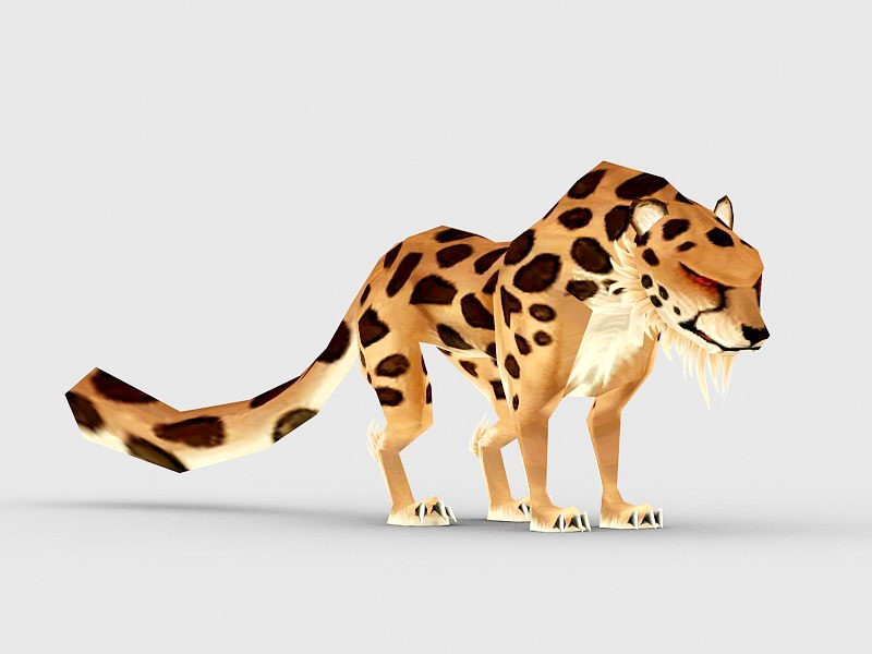 Anime Spotted Leopard 3d rendering