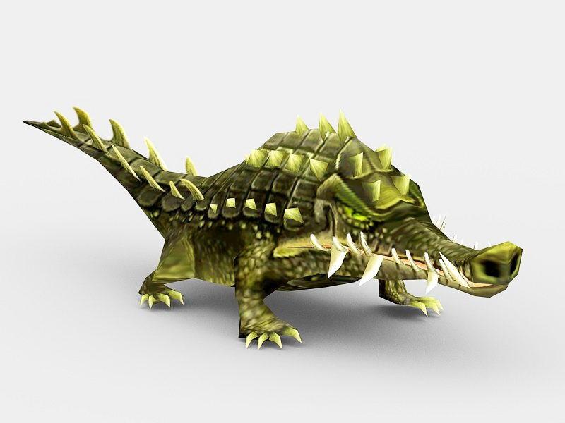 Anime Alligator 3d rendering