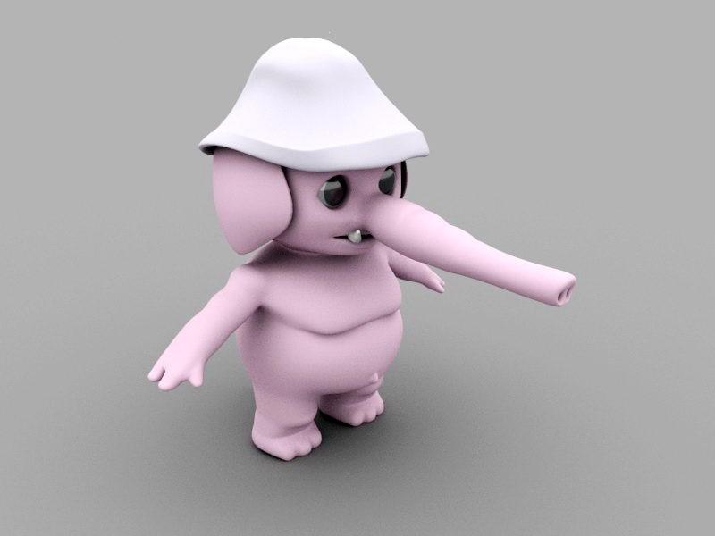 Cartoon Elephant Character 3d rendering