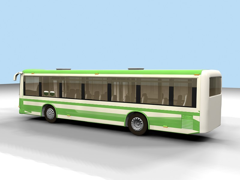 Green Bus 3d rendering