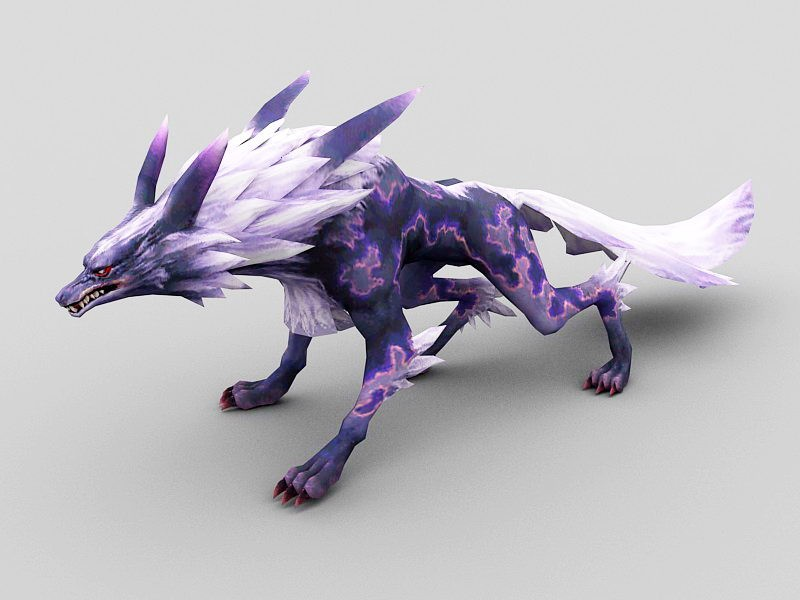 Purple Magic Wolf 3d rendering