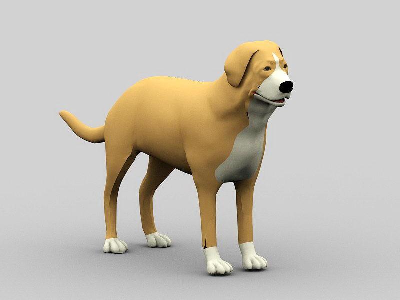 Big Yellow Dog 3d rendering