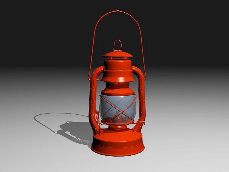 Red Kerosene Lamp 3d rendering