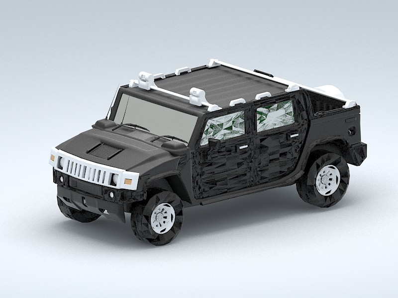 Hummer H3 Pickup Truck 3d rendering
