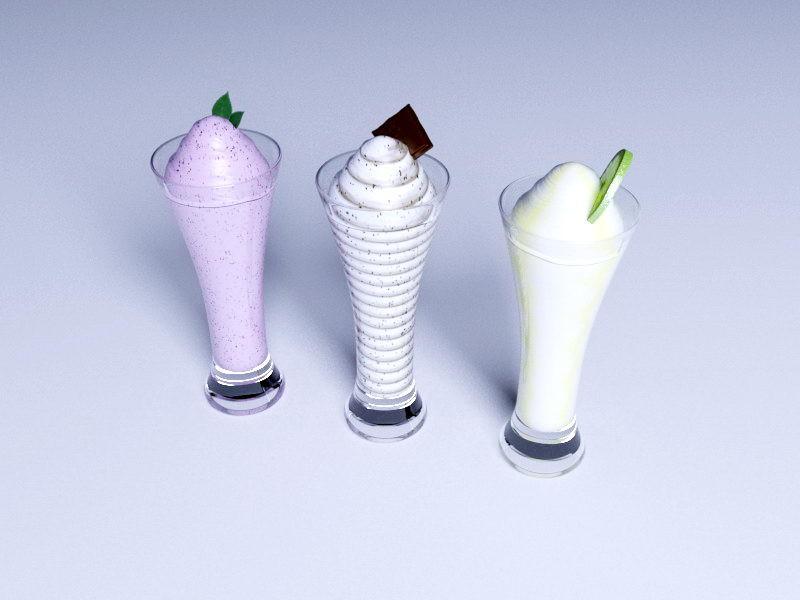 Three Flavors Of Ice Cream 3d rendering