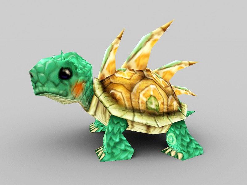 Green Anime Tortoise 3d rendering