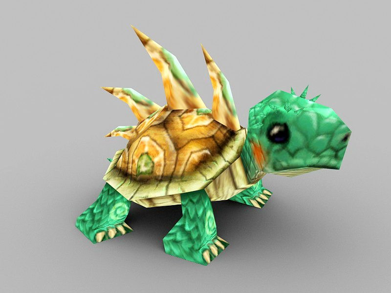 Green Anime Tortoise 3d rendering