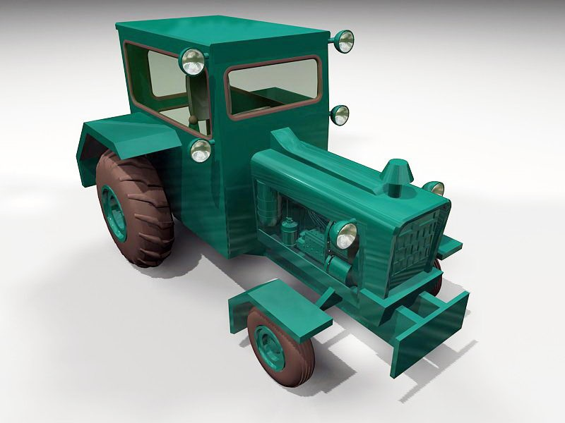 Green Farm Tractor 3d rendering