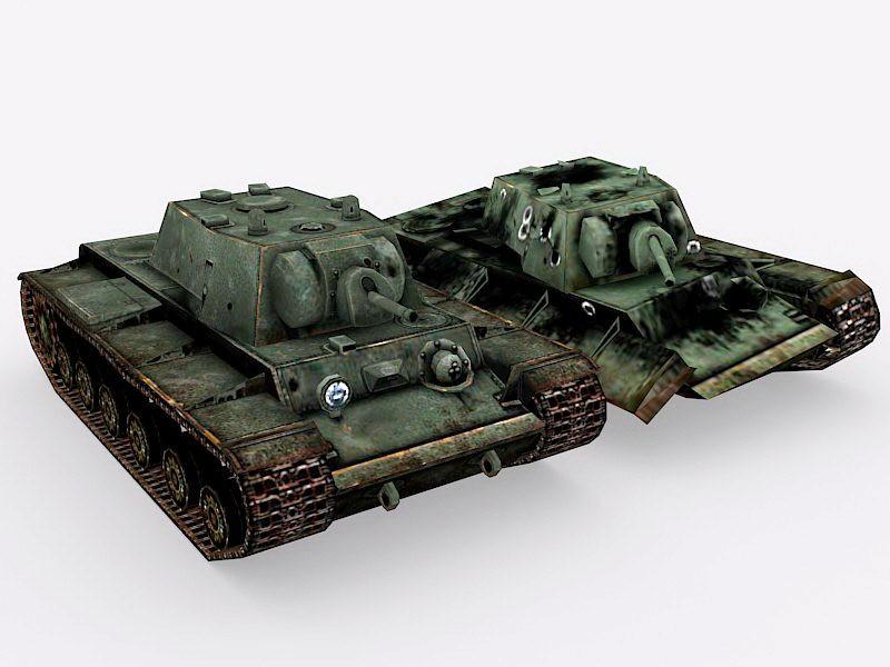 Destroyed KV-1 Tank 3d rendering