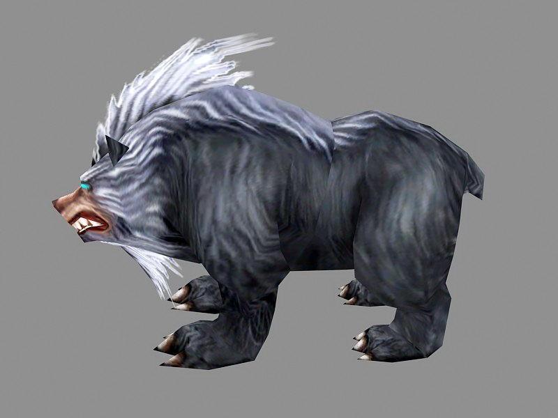 Anime Black Bear 3d rendering