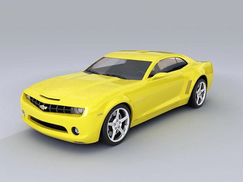 Chevrolet Camaro Yellow 3d rendering