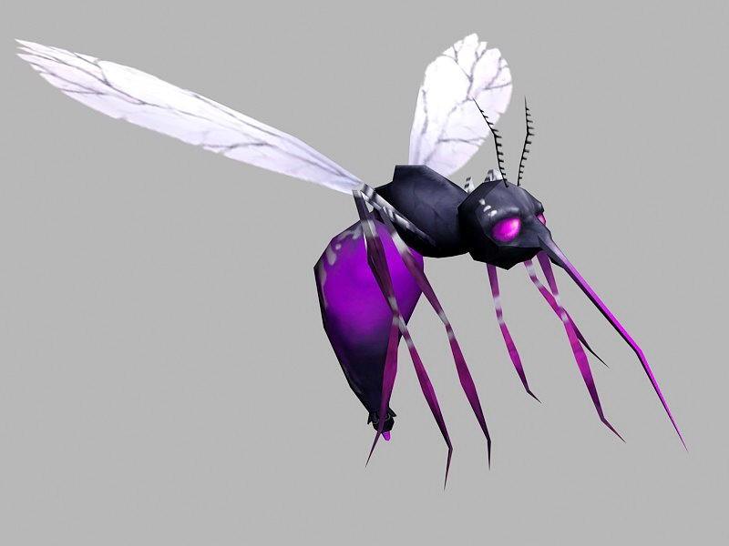 Purple Mosquito 3d rendering