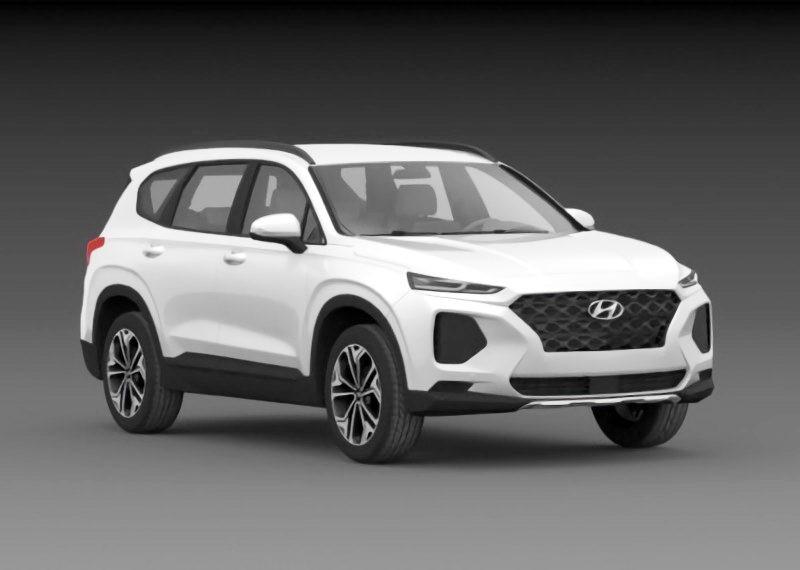 Hyundai Santa Fe 2019 3d rendering