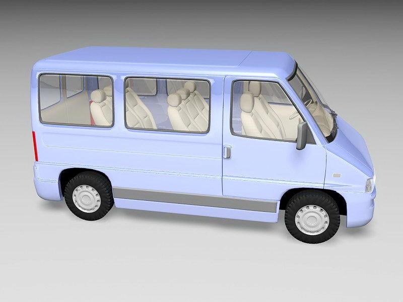 Blue Minibus 3d rendering