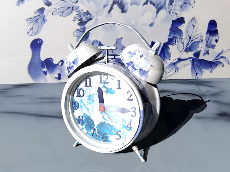 Blue and White Alarm Clock 3d rendering