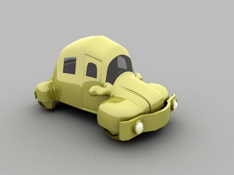 Cute Cartoon Car 3d rendering