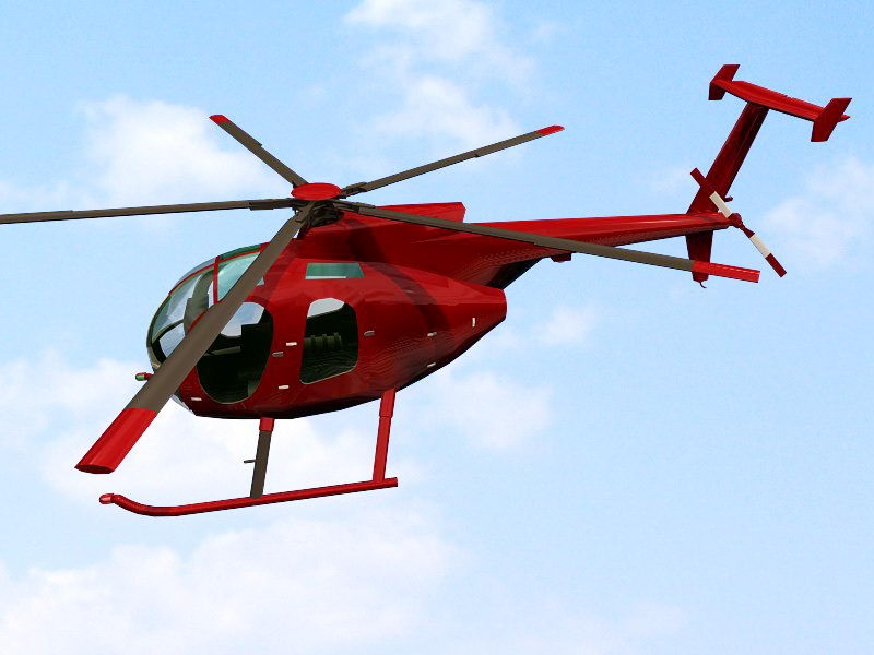 Red Helicopter 3d rendering