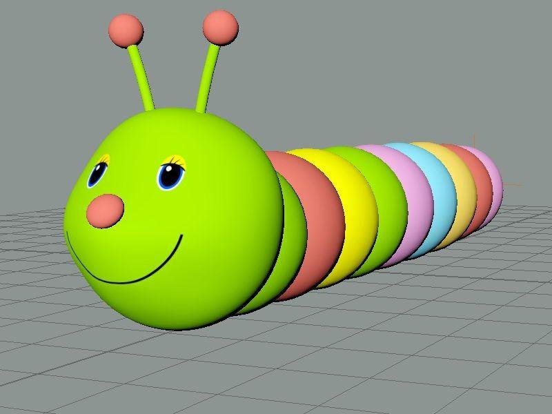 Cartoon Green Worm 3d rendering