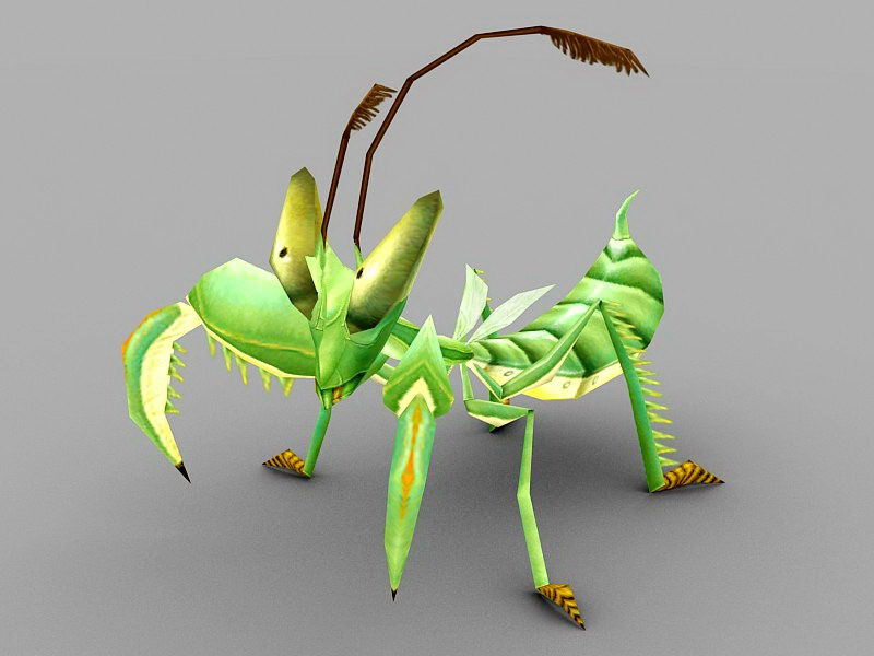 Praying Mantis Cartoon 3d rendering