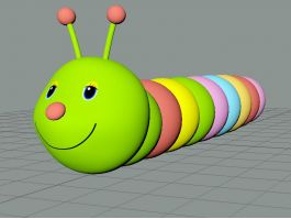 Cartoon Green Worm 3d preview
