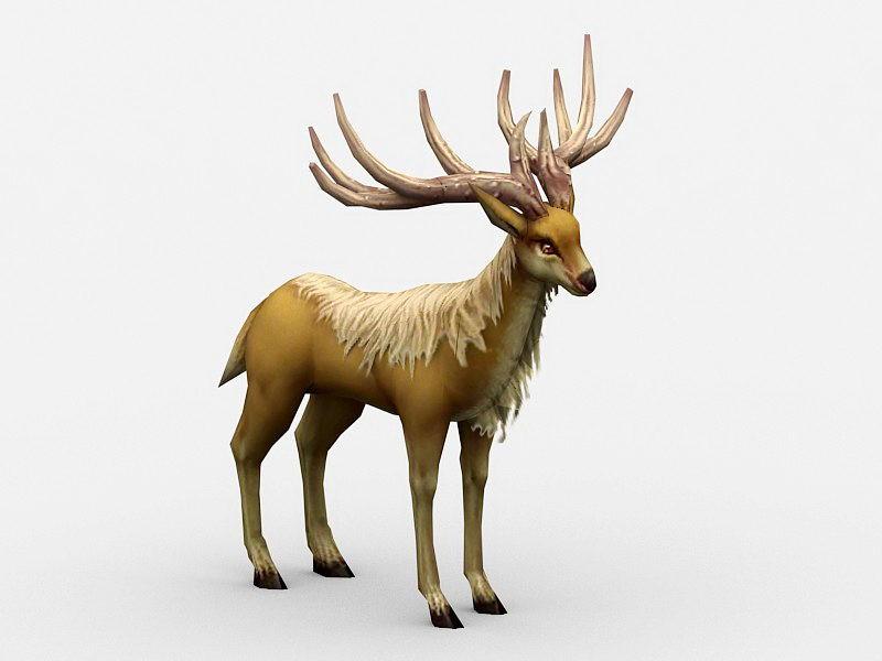 Animated Elk Rig 3d rendering