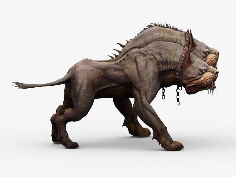Three-Headed Dog Cerberus 3d rendering