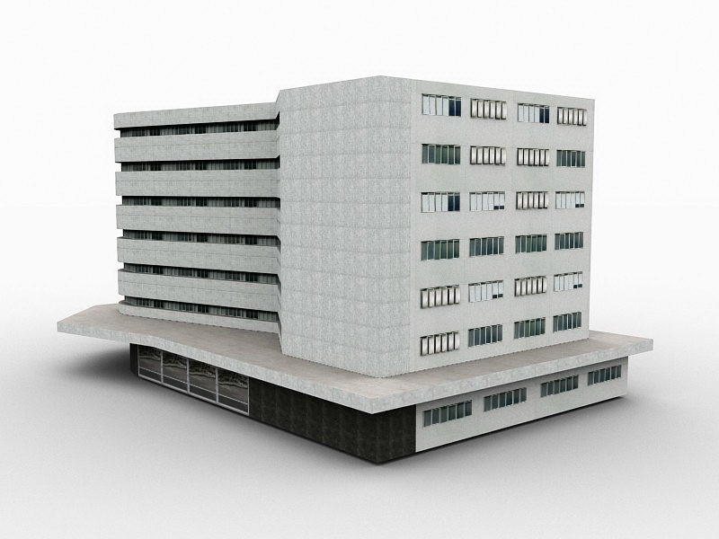 White Office Building Exterior 3d rendering