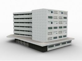 White Office Building Exterior 3d preview