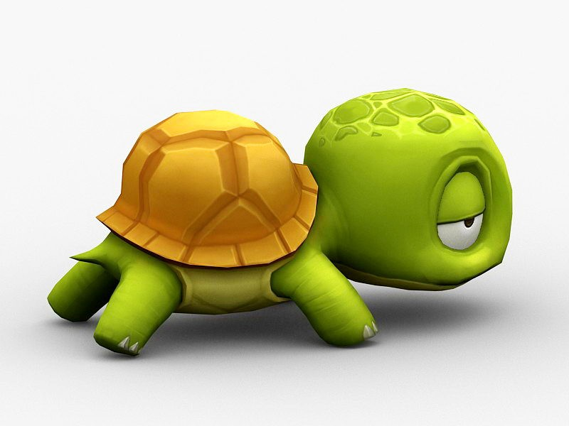Cute Cartoon Sea Turtle 3d rendering
