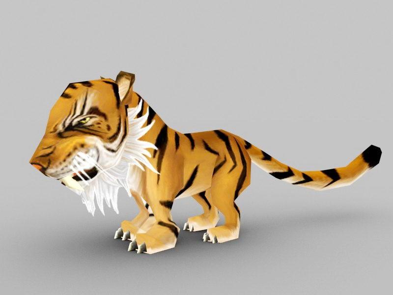 Chibi Tiger 3d rendering