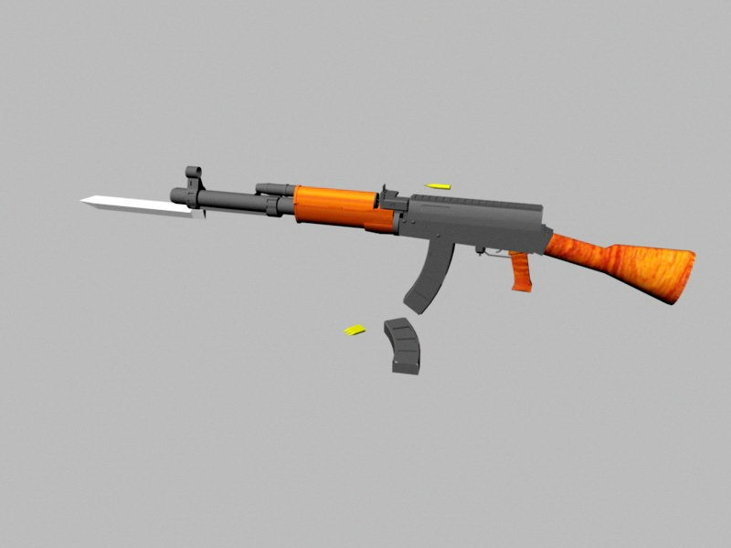 AK-47 with Magazine and Bayonet 3d rendering