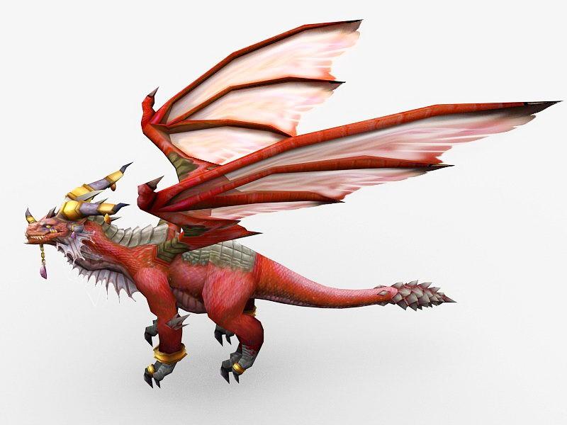 Red Dragon Queen Alexstrasza 3d rendering