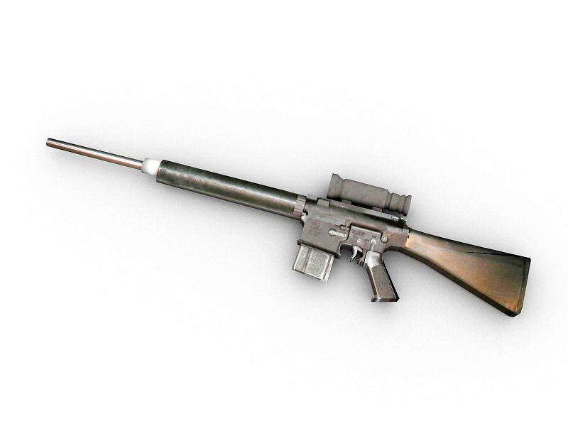 AR-10T Battle Rifle 3d rendering