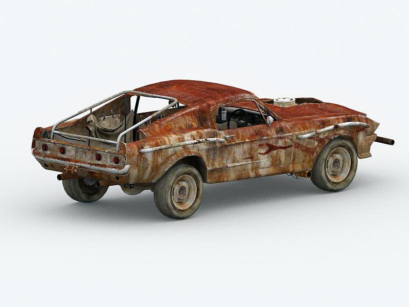 Old Rusted Car 3d rendering