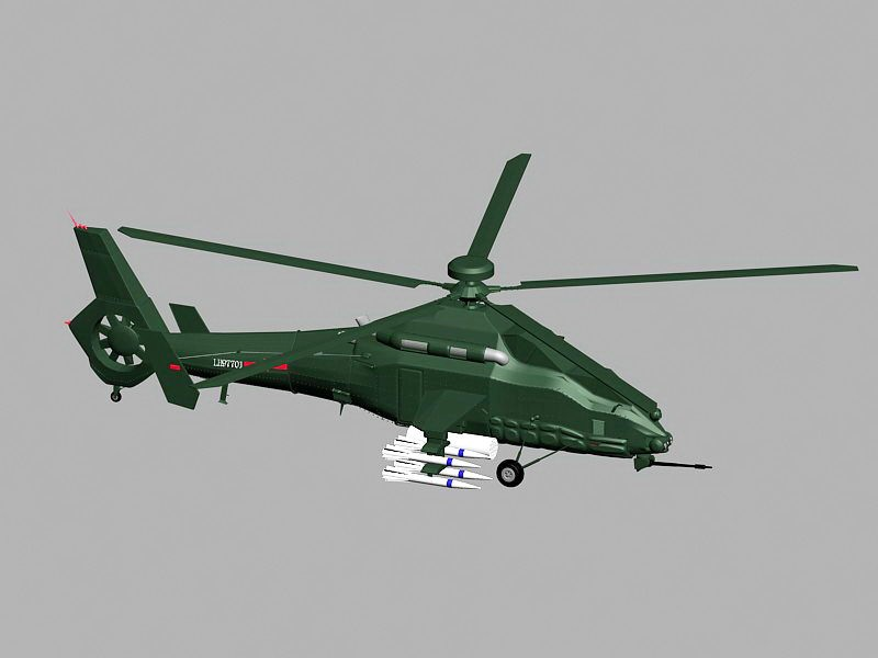 WZ-19 Chinese Attack Helicopter 3d rendering