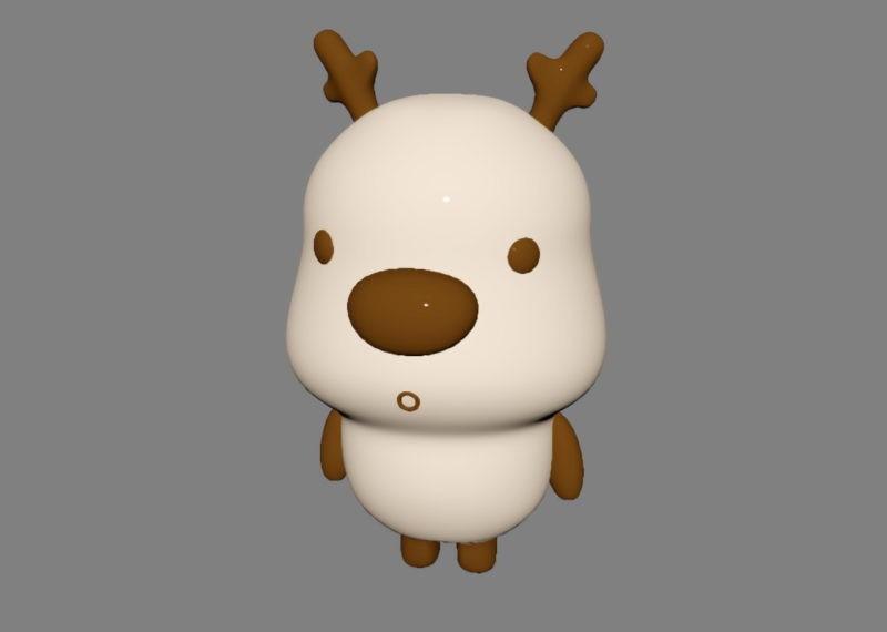 Cute Cartoon Deer 3d rendering